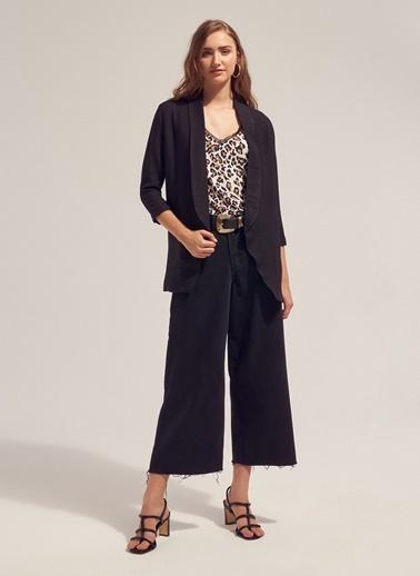 Monamoda Astarsız Blazer Ceket Siyah